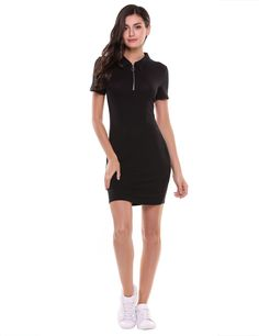Women Casual Short Sleeve Solid Polo Neck Knee Length Slim Front Zipper Pencil Dress
