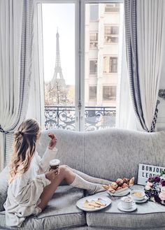 This is total vacation goals! We are dreaming of this vacation in a hotel with a view of the Eiffel Tower! Wow this is gorgeous! Major travel inspiration!