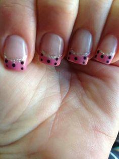 #nailmender Acrylic nail art. Pink tip frech mani. Black polka dots
