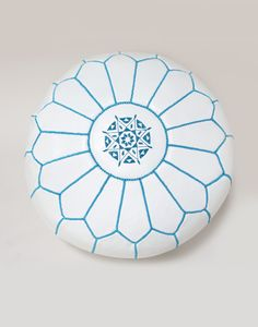 New Genuine Real Moroccan Leather Pouffe, White with Blue Stitchings Ottoman White Ottoman, Moroccan Room, Moroccan Leather Pouf, Moroccan Furniture, Pouf Ottoman, Artisanal, Soft Furnishings, Indie Brands, Handicraft