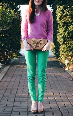 Sarah Vickers of Classy Girls Wear Pearls in J.Crew pants and a Marks & Spencer Autograph sweater with a Pink Tulips clutch