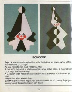 Origami - Papírvarázslat - Képgaléria - Diagrams - Rajzok - Bohóc fej- Clown head and body