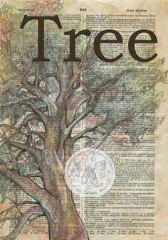Druck: Baum Mischtechnik Zeichnung auf antike Wörterbuch-Seite