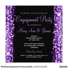 Wedding Engagement Party Sparkles Purple 5.25x5.25 Square Paper Invitation Card