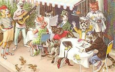 Mainzer Hartung Postcard 4976 Dressed Cats w Dog, Sidewalk Cafe Singer Guitar