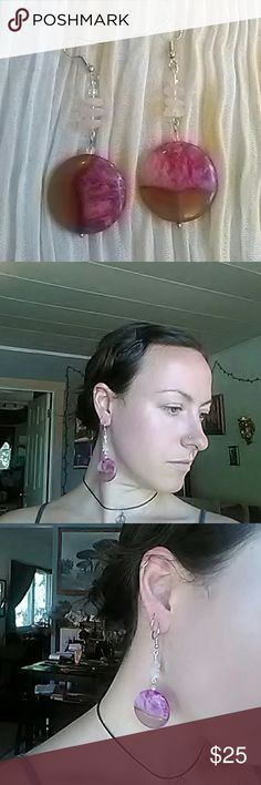 Agate and rose quartz earrings Pink Agate and rose quartz  earrings made by me Jewelry Earrings
