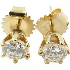 Vintage 14 Karat Yellow Gold Diamond Stud Earrings .80 ct.