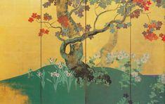 鈴木其一の'四季花木図屏風'(左隻部分 19世紀 出光美)