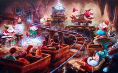Concept art for the Seven Dwarfs Mine Train Ride.