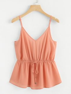 Shop Drawstring Waist Cami Top at ROMWE, discover more fashion styles online. Cute Teen Outfits, Cute Summer Outfits, Outfits For Teens, Cool Outfits, Casual Outfits, Romwe, Hawaii Outfits, Girl Fashion, Fashion Outfits