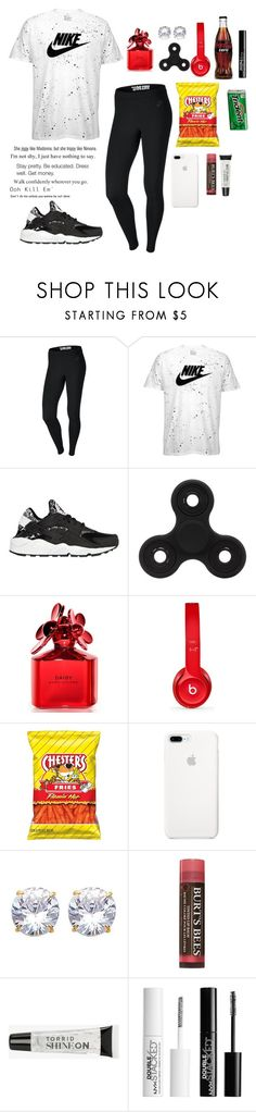 """""""Ootd + Qotd"""" by ahriraine ❤ liked on Polyvore featuring NIKE, Marc Jacobs, Beats by Dr. Dre, Burt's Bees, Torrid, AG Adriano Goldschmied and Charlotte Russe"""
