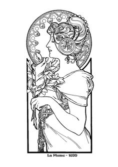 alphonse mucha art nouveau coloring pages for adults