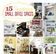 Yellow Bliss Road: 15 Inspiring Small Office Spaces and What I'm Working On Tiny Office, Small Space Office, Closet Office, Guest Room Office, Home Office Space, Small Spaces, Office Spaces, Kitchen Office, Diy Organisation