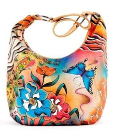 Yellow Hand-Painted Zebra Floral Leather Hobo $129.99 by Zulily