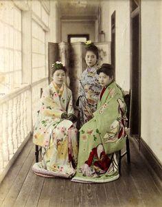 Three Maiko Posing on Veranda by Adolfo Farsari