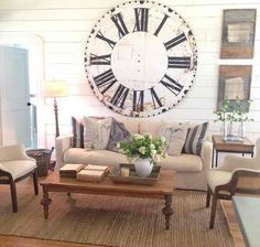Joanna Gaines I like how comfortable and welcoming this looks. (Not the giant clock...too big!)