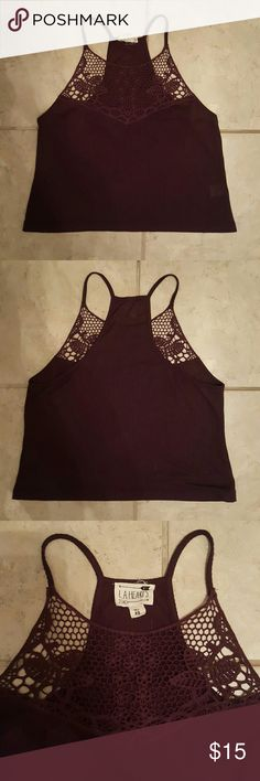 L.A. Hearts tank In great condition! Pretty crochet detail on front. Dark purple color. LF Tops Tank Tops