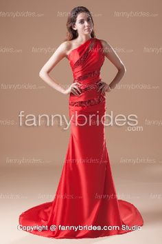 b4f505c34d Dazzling Sequined Wrinkled Red Prom Dress With One Strap - Fannybrides.com Prom  Dresses For