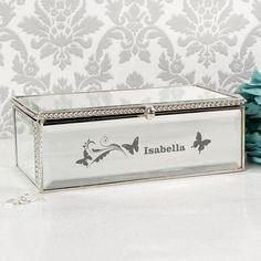 Bridesmaid Gift Idea - Personalised Butterfly Swirl Mirrored Jewellery Box
