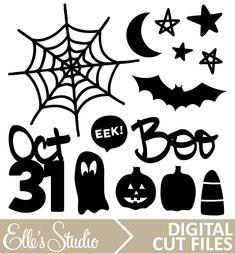 Halloween Digital Cut File from Elle's Studio Halloween Images, Fall Halloween, Silhouette Projects, Silhouette Cameo, Elle Studio, Halloween Silhouettes, Freebies, Digital Stamps, Print And Cut