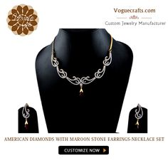 Beautiful American Diamonds with Maroon Stone Earring-Necklace Set  #Fashion #Jewellery #Manufacturer #Suppliers