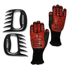 Grill Beast  BBQ Grilling Cooking Gloves with Meat Shedding Fork Claws  Smoker and Kitchen Accessories 2pc Combo Kit