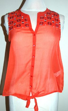 Lucky Brand Women's Embroidered Sheer Tank Top Coral Size S Style 7Wd40009