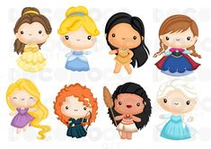 Princess Clipart - Fantasy Clip Art - Princess of Kingdom - Free SVG on Request Kawaii Disney, Disney Png, Cute Disney, Disney Princess Babies, Disney Princess Pictures, Baby Disney, Colors For Toddlers, Image Svg, Owl Clip Art