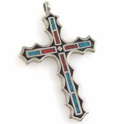 Navajo Handmade Nickel Silver Turquoise Coral Chip Inlay Cross Pendant J X  | eBay