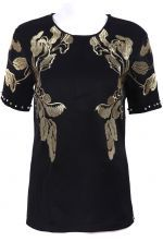 Black Short Sleeve Embroidery Back Buttons T-Shirt $89.00