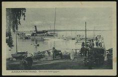 Vestfold fylke Horten kommune AASGAARDSSTRAND. Dampskibsbryggen. Flott motiv med flere båter og folk. Utg Eneret 1923: A. Th. Larsen, Tønsberg  stpl. Aasgaardsstrand 1925