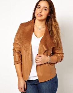 Skórzana narzutka New Look - New Look Inspire Drape Front Leather Look Jacket