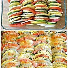Easy!! Onion, tomato, zucchini, yellow squash, you can also use eggplant - Slice thin. After drizzling on olive oil, sprinkle on Italian seasoning, lemon pepper, sea salt, onion & garlic powder. Then mozzarella. Bake 375 approx 30 min, just depends on how firm you like your veggies.