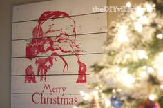 Diy it: Pottery Barn inspired Santa pallet plank wood artwork | #Christmas