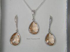 Champagne Peach / Silver Teardrop CZ Necklace by BridalTreasures4U