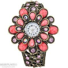 New Coral Faux Stone Flower Rhinestone Watch Cuff Bangle Bracelet Band SuzePlace.com