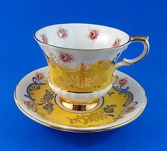 Pretty Yellow with Roses Pembroke Paragon Tea Cup and Saucer Set