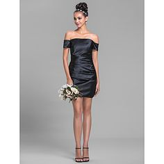 Sheath/Column Off-the-shoulder Short/Mini Sleeveless Stretch Satin Bridesmaid Dress(699303) – USD $ 119.99