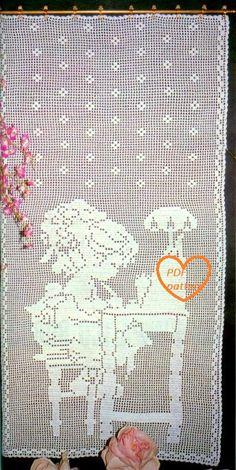 Schema PDF  Tende filet a uncinetto  decorazioni  di Marypatterns