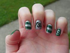 I'm a Slytherin girl and these are lovely ! Nail Polish Designs, Nail Art Designs, Nail Biting Habit, Harry Potter Nail Art, Acrylic Nail Tips, Harry Potter Cosplay, Short Nails Art, Cute Nail Art, Love Nails