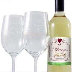 I Love You White Wine and Engraved Glasses  from Personalised Gifts Shop - ONLY £49.95