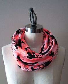 Poe the Raven Rib IceDyed Coral Knit Infinity by StinkeeCheese, $22.00