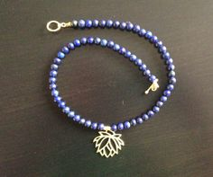 Lapiz Lazuli with Gold Vermeil Lotus Flower by MariannFernanda, $45.00