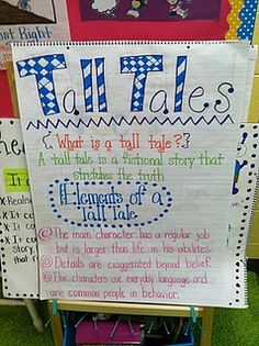 Life in First Grade: Johnny Appleseed Tall Tales Anchor charts Library Lessons, Reading Lessons, Reading Skills, Teaching Reading, Teaching Ideas, Reading Strategies, Reading Genres, Guided Reading, Reading Comprehension