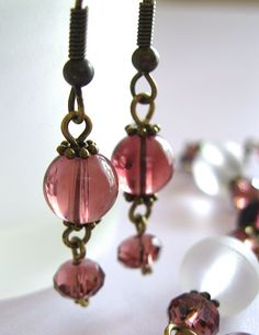 Cranberry Czech glass and Swarovski crystal