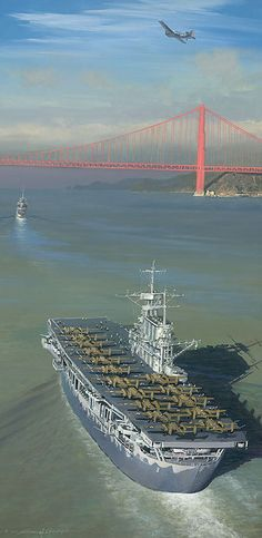"""Approaching the Gate to Destiny By William S. Phillips - Lt. Colonel Jimmy Doolittle's April 18, 1942 raid on Japan began with the loading of sixteen B-25s aboard a Navy aircraft carrier, the USS """"Hornet,"""" for the first time. Seen here is Task Force 16.2, sailing from San Francisco Bay on the beautiful sunlit morning of April 2, 1942."""