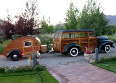 1946 International K-1 Woody with matching teardrop trailer.