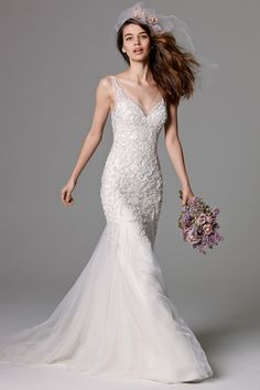 Watters 'Lexington' Beaded Tulle Mermaid Gown