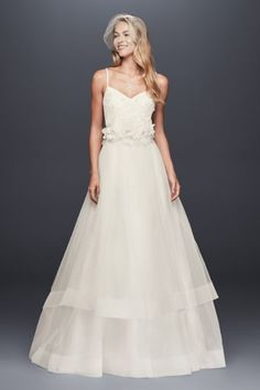3D Floral Bodice Tulle Ball Gown Wedding Dress WG3890