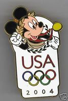"""Disney Mickey Gold Medal USA Olympic 2004 Pin"" -- Pin is for an auction, so click-through photo may no longer be there."